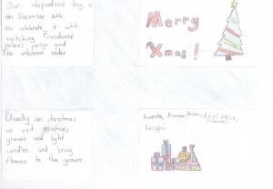 Joulukortti ystävyyskoululle Saksan Wittenbergiin jouluna 2014 (yksi kuudesta).